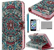 COCO ® FUN Malaquita padrão tribal PU Leather Case Full Body com Filme, Stand e Stylus para iPhone 5/5S