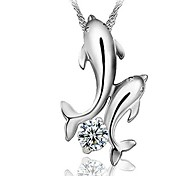 Fashion (Dolphins) 925 Silver Necklace Pendant (1 PC)