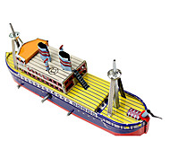Handcrafted Nostalgic Metal Spring Ship Ferryboat Children Tin Toy
