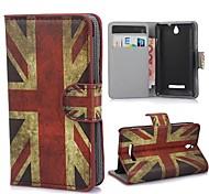 El caso del patrón del Union Jack Tapa con ranura de la tarjeta y de pie para Sony Xperia S c1605