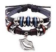 Unisex's Big Mouth Beads Leather Braided Bracelets