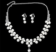 Twisted Pearl Silver- Plated Diamond-Studded Earrings & Necklace Set (1 Set)