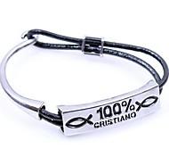 Men's Alloy100 Percent Leather Bracelet