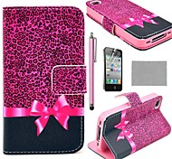 COCO FUN ® Purple Leopard Pattern Wallet Card Slots PU Leather hoesjes met standaard voor de iPhone 4S Inclusief Film en Stylus