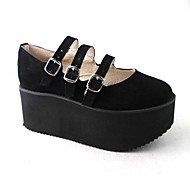Handmade Pure Black Suede 7cm Wedge Classic & Traditional Lolita Shoes
