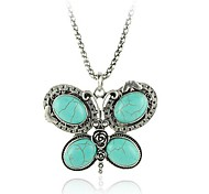 Europe and America Butterfly Turquoise Alloy Pendant Necklace