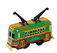 Handcrafted Nostalgic Metal Spring Old Double Trolley Children Tin Toy