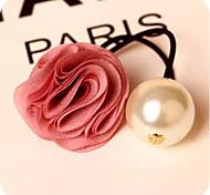 Rosa Flor perla grande lazos del pelo