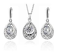DJE0031 18K Gold Plated Inlay Zircon Fashion Jewelry Sets With Rhinestone Crystal Valentine's Day Gift (1 Set)