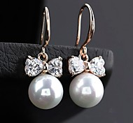 Fashionable Round Pearl Bowknot Earrings (More Colors)