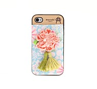Korean Version Cloth Flowers Series Style Blue Bottom Pink Flowers Pattern Plastic Hard Case for iPhone 4/4S