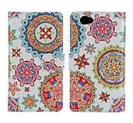 Beautiful Wreath Pattern PU Leather Full Body Case with Stand and Card Slot for Sony Z1 Mini