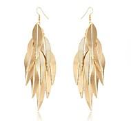 (1 par) (hojas de chapa) europeos pendientes de gota de la aleación de oro