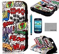 del cuero del patrón de graffiti auge de coco diversión ® pu con protector de pantalla y el stylus para mini i8190 samsung galaxy s3