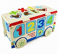 Children's Digital Multi-functional Wooden Bus Puzzle Toys