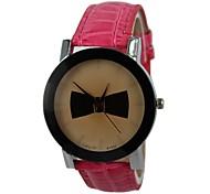 Bowknot pu banda de cuarzo reloj de pulsera de mujer (varios colores)