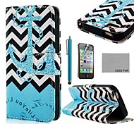 COCO FUN ® Blue Anchor PU Leather Full Body Case met Screen Protector, Stand en Stylus voor iPhone 4/4S