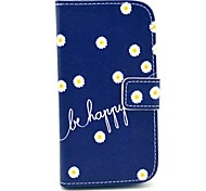 Be Happy Daisies Design PU Leather Full Body Case with Stand for Samsung Galaxy S3 Mini I8190