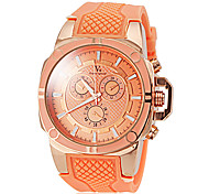 Women's Stylish Gold Case Silicone Band Quartz Wrist Watch (Assorted Colors)