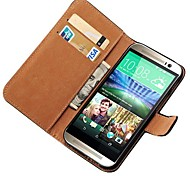 Genuine Leather Book Style Wallet with Card Holders Case for HTC One2 M8