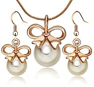 Lady`s Pearl Jewelry 18K Rose Gold Plated Bowknot Pendant Necklace Earrings Sets