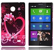 Cassa del fiore del modello del cuore gommata posteriore duro per Nokia X X +