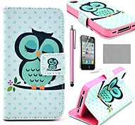 COCO FUN ® slaappatroon Uil PU Leather Full Body Case Met Film, Stand And Stylus voor iPhone 4/4S