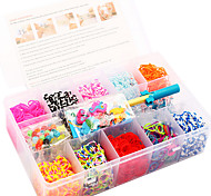 Rainbow Colorful Loom Bands Kit 15 Cells Multicolor Rubber Band Family Set (2000 Pcs) And Connector