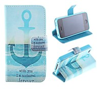 Ship At English Letters Pattern PU Full Body Case with Card Slot and Stand for iPhone 4/4S