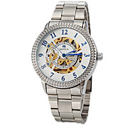 Men's Auto-Mechanical Gentle Hollow Dial Silver Steel Band Wrist Watch
