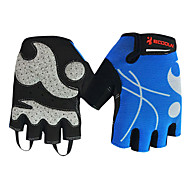 BOODUN Women's Light Blue Breathable Mesh Short Finger Cycling Gloves