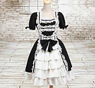 Precioso Maid Manga corta blanco y Negro vestido de algodón Lolita Clásico
