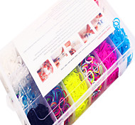 Rainbow Colorful Loom DIY Multicolor Rubber Band(1200 Pcs) And Connector