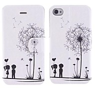 Dandelion Pattern PU Full Body Case with Card Slot and Stand for iPhone 4/4S