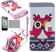 COCO FUN® K16 Pink Cute Owl Pattern Wallet PU Leather Cases With Stand For iPhone 4S Included Film And Stylus