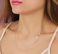shixin® Mode Blattform Perle Anhänger Halskette (1 PC)