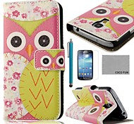 COCO FUN® Pink Rose Owl Pattern PU Leather Case with Screen Protector, Stylus and Stand for Samsung Galaxy S4 Mini i9190