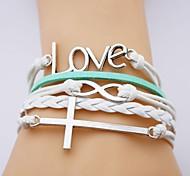 Leather Bracelet Multilayer Alloy Love and Cross Infinite Handmade Bracelet