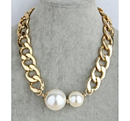 Coarse Size Chain Pearl Diamond Pendant with Short Chain Necklace
