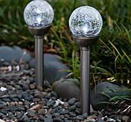 Set mit 2 Farbwechsel Solar-Crackle Glaskugel Stake-Licht-Garten-Lampe