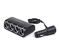 4- Socket Car Cigarette Lighter Charger Adapter  with USB Car Charger (12~24V)