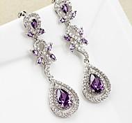 Gorgeous Full Diamonds Water Shape Multicolor Crystal  Drop Earrings