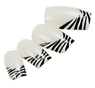 24PCS Black Leopard Fingertip Design White Nail Art French Tips With Glue
