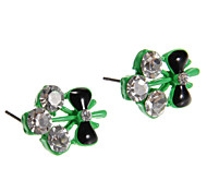Fashion Diamate (Bowknot) Black Alloy Stud Earrings(Pink,Yellow,Green,Blue) (1 Pair)