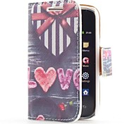 Heart Gift Box Style Leather Case with Card Slot and Stand for Samsung Galaxy Y S5360