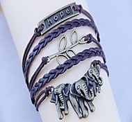 Women's Vintage Hope Elephants and Branches PU HandWoven Bracelet