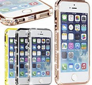 Bling luxo cristal de diamante metal de alumínio caso pára-choques para 5/5s iphone (cores sortidas)