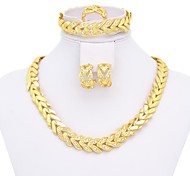 Elegant Gold Plated Leaf Shape Necklace With Rhinestone & Leaf Shape Earring,Bracelet, Ring Jewelry Set For Lady