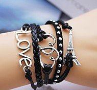 Leather Bracelet Multilayer Alloy Love and Heart Eiffel Tower Handmade Bracelet