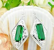 Trendy Green Quartz Gemstone Daily Drop Silver Earrings 1pair